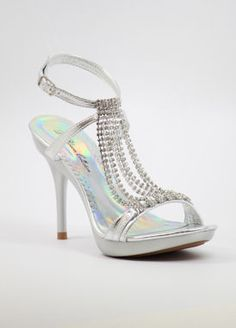 "Silver Prom shoes with 3 3/4"" heels and 3/4"" platform (Style 200-7)"