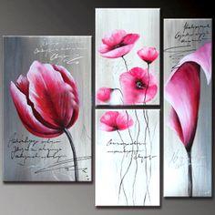 Tryptyk KWIATY Fuksja ręcznie malowany prezent