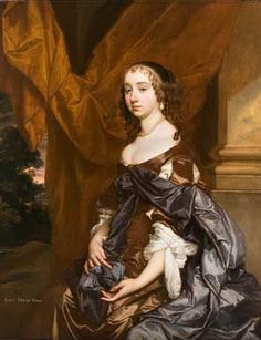 Portrait of Lady Mary Fane (1639-1681), seated three-quarter-length, in a brown dress and blue robe, a red curtain behind her, a landscape beyond By Sir Peter Lely