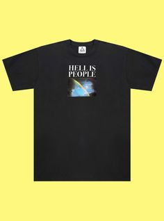 """UNIF Hell is People Tee. Black crew neck t-shirt with """"Hell Is People"""" and rainbow graphic printed on front. Unisex style, 100% Cotton, Made in the…"""