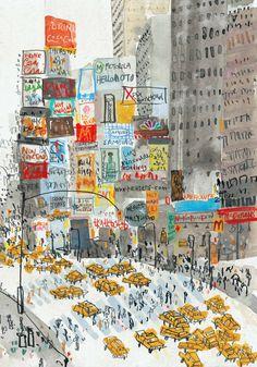 Sketches Arquitectura, Arte Black, Times Square New York, Illustrations, Illustration Art, Posca Art, Kunst Poster, Nyc Art, Art Moderne