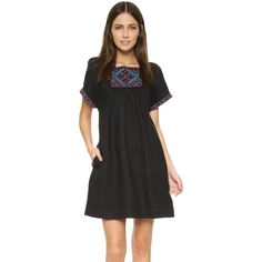 Madewell Embroidered Wander Dress featuring polyvore, women's fashion, clothing, dresses, black, linen dress, short sleeve linen dress, square neckline dress, square neck dress and embroidered dress
