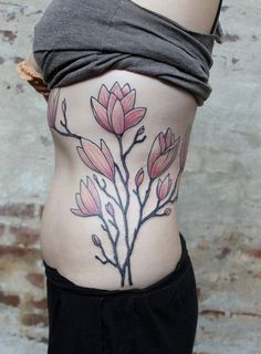 magnolia side tattoo - 50+ Magnolia Flower Tattoos  <3 <3
