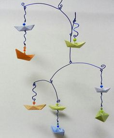 Origami Baby Mobile with Sailboats by StellarOrigami on Etsy, $45.00