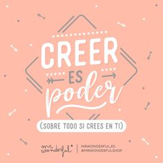 ¡Y tú puedes, créeme! Believing is power (especially if you believe in yourself). And you can, believe me! Positive Phrases, Positive Quotes, Motivational Quotes, Inspirational Quotes, Now Faith Is, Spanish Quotes, Believe In You, Life Quotes, Wisdom