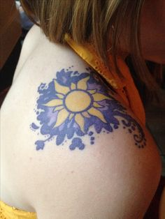 126 Inspiring Nature Tattoos Designed for Nature Lovers 12 - Celestial Sun If y. - 126 Inspiring Nature Tattoos Designed for Nature Lovers 12 – Celestial Sun If you are a fan of th - Rapunzel Tattoo, Disney Tangled Tattoo, Sun Tattoos, Body Art Tattoos, Sleeve Tattoos, Tatoos, Bright Tattoos, Arm Tattoo, Pretty Tattoos