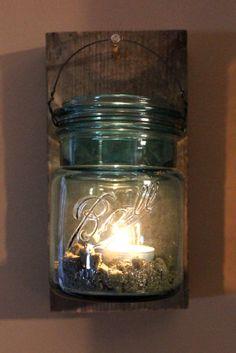Blue ball jar hanging lantern by kateblais on Etsy, $12.00
