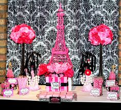 Sweet and Chic Soiree #candybuffets #paris #pinkandblack #sweetlystyled #sweetstylist
