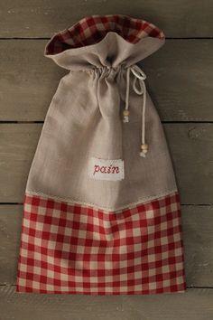 petit sac à pain lin et tissu carreaux rouges : Cuisine et service de table par les-chiffons-de-lea