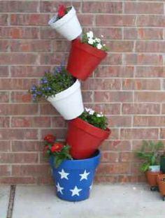 Tipsy Pot Planter - Fourth of July