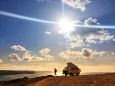 Camping on a cliff at Praia do Amado, Algarve, Portugal.