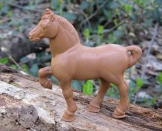 Plastic Horse Toy Ohio Art Animal Accessory Vintage 60s Play Farm Set Brown Pony Western Hollow Core Stallion Work Horse for Cowboy