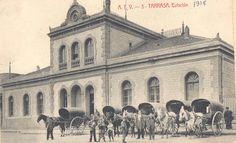 Estació del Nord, Terrassa. Servei de Tartanes. 1915