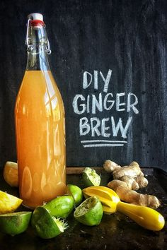 DIY Ginger Brew is a great way to use up ginger. You mimic the taste of ginger beer with the addition of allspice, cinnamon and cloves. Refreshing Drinks, Fun Drinks, Yummy Drinks, Healthy Drinks, Alcoholic Drinks, Beverages, Drinks Alcohol, Healthy Food, Juice Drinks