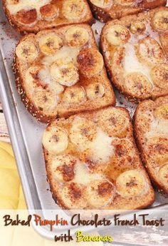 Baked Pumpkin Chocolate French Toast with Bananas. Get this quick and easy recipe at This Mama Cooks! On a Diet. Make it with whole wheat or gluten free toast. Great for breakfast on cool fall weekend mornings!