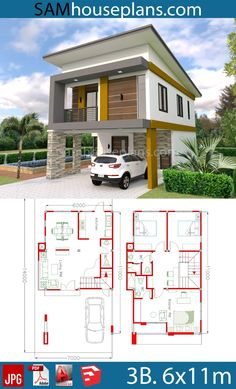 design plans simple House Plans with 3 Bedrooms House Plans with 3 Bedrooms - Sam House Plans Bungalow Haus Design, Duplex House Design, Duplex House Plans, Dream House Plans, Simple House Plans, Simple House Design, House Front Design, Modern House Design, House Layout Plans