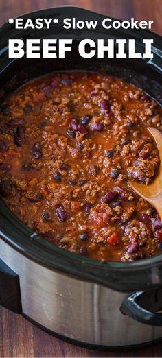 Crock Pot Recipes, Crockpot Dishes, Crock Pot Cooking, Cooking Recipes, Crockpot Chili Recipes, Slow Cooker Hamburger Recipes, Crock Pot Chili, Slow Cooker Recipes Family, Slow Cooking