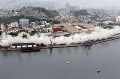 Perimetral Avenue -rantakatu purettiin Rio de Janeirossa, Brasiliassa, 24. marraskuuta osana vuoden 2016 kesäolympialaisten uudisrakennusprojektia. Beth Santos / Rio de Janeiron kaupunginhallinto / AFP / Lehtikuva