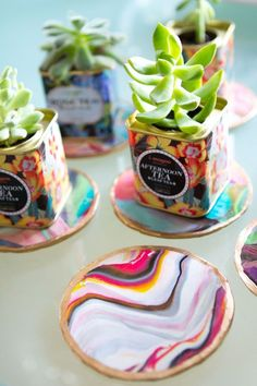 How to: marbled coasters