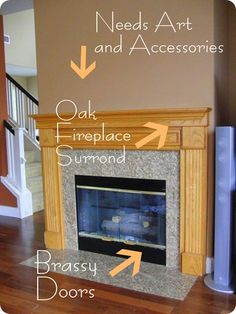 Best Photos oak Fireplace Makeover Tips Presently there are a lot of interesting fire place redecorate suggestions and if you are interested in the most effecti Fireplace Redo, Home Design Decor, Oak Fireplace, Oak Mantle, Fireplace Trim, Fireplace Remodel, Fireplace Makeover, Fireplace Doors, Fireplace