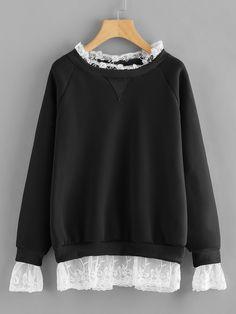 347f80ebfd444 Plus Contrast Lace Raglan Sleeve Sweatshirt -SHEIN(SHEINSIDE)