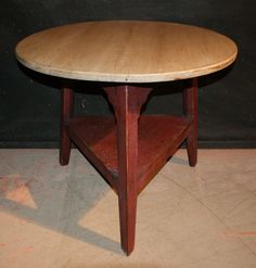 Painted Cricket Table-19th C Painted pine Welsh cricket table. 1890.