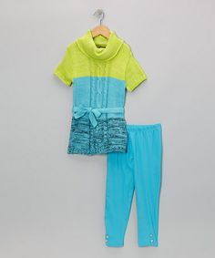 Take a look at this Aqua Color Block Tunic & Leggings - Infant & Toddler by 2B Real on #zulily today!