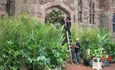Creating a wedding jungle to the entrance of Peckforton Castle, Cheshire.