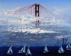 Sailboats under the Golden Gate Bridge by Lisa Elley.  #art #painting #sanfrancisco