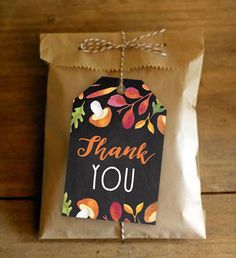Printable Favor Gift Thank You Tags - Chalkboard Fall Autumn Leaves - Instant Download