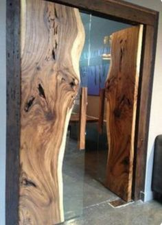 Doors of live-edge wood slabs and glass. Modern rustic design - Decoration for House Into The Woods, Live Edge Wood, Home Trends, Wood Slab, Wooden Doors, Wood Design, Rustic Design, Wood Furniture, Furniture Design