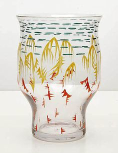 Vase with abstract enamel paint decoration, design Chris Lanooy 1919-1923, executed by Leerdam / the Netherlands