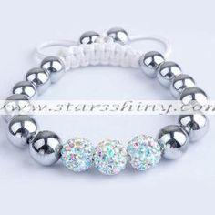 Clay Shamballa Bracelet, 10mm round AB2X clay rhinestone beads& 10mm hematite beads