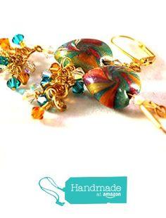 Goldtone Swirled Heart Earrings with Swarovski Crystal Cascading Dangles from BMEonAZ @julielcleveland  #handmadeatamazon