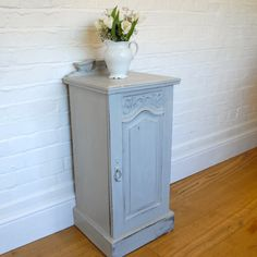 Vintage pot cupboard painted in a mix of Annie Sloan's Paris Grey and Old White. Available from Charlotte Jones Interiors. Contact us: sales@charlottejonesinteriors.com