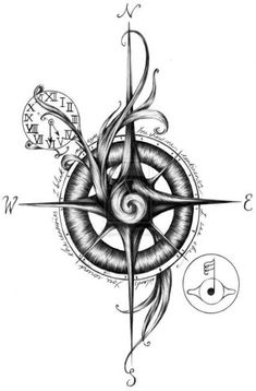 50 Best Compass Tattoo Designs and Ideas - Vintage Compass Tattoo, Viking Compass Tattoo, Simple Compass Tattoo, Compass Art, Compass Drawing, Compass Tattoo Design, Compass Rose, Compass Circle, Pocket Compass