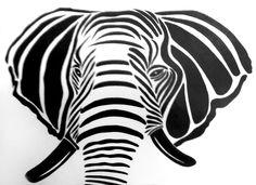 Dibujo Síntesis de Elefante. Elaborado a Tinta china.