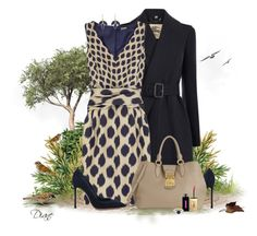 """""""Two in the Bush"""" by diane-hansen ❤ liked on Polyvore featuring Burberry, DKNY, Gianvito Rossi, Miu Miu, Yves Saint Laurent, Irene Neuwirth, suede pumps, lapis jewelry, bird and leather tote bag"""