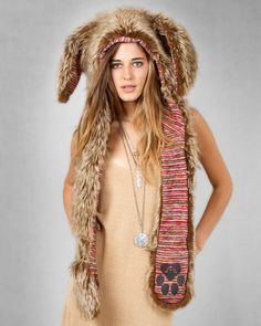 Spirit Hoods Brown Rabbit Full Hood - Peruvian - Punk.com