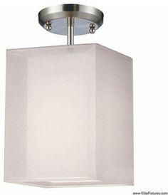 Z-Lite 145-6W-SF Nikko 1 Light Semi-Flush Mount in Brushed Nickel/White - Lighting - Lighting New York