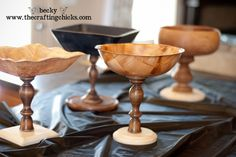 Bowls, wooden plaques, wooden candlesticks. My husband would kill me, but they can be spray painted and glazed also