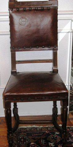 Set of 6 Antique Spanish Leather Dining Chairs