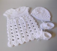 Newborn Going Home Crochet Dress - Hat - Booties - Custom Made. $32.00, via Etsy.