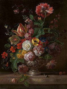 Jacob Bogdani - A bouquet of roses, anemones, columbine, an opium poppy, a tulip, Indian cress and other flowers in a silver vase on a marble ledge, with a snail, blue damsel fly and an orange-tip butterfly [i]