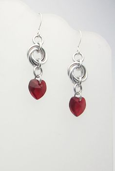 Red Hearts Chainmaille Earrings by RedBessBonney on Etsy, $10.00