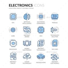 Line Electronics Icons Vector EPS. Download here: https://graphicriver.net/item/line-electronics-icons/17683742?ref=ksioks