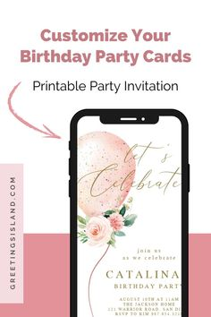 Got a big birthday celebration coming up!? Don't forget your custom online invitations from Greetings Island! Our women's birthday party invites are so unique and fully customizable. #custominvites #custominvitations Free Birthday Invitations, Online Invitations, Custom Invitations, Invites, Printable Cards, Birthday Celebration, Rsvp, Celebrities, Don't Forget