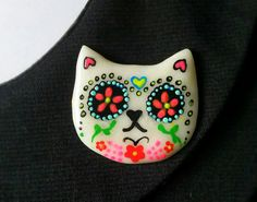 Day of the Dead Sugar Skull Glow in the Dark Cat Brooch or Magnet - Mexican Polymer Clay Kitty Cat Pin This listing is for the a handmade brooch