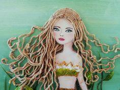 Mermaid Decor Green Beach Painting Original by MidorisMyMuse