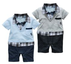 >> Click to Buy << Grey or Blue Gentleman 6-24 Months Baby Short Sleeved Jumpsuit Onesie Romper #Affiliate